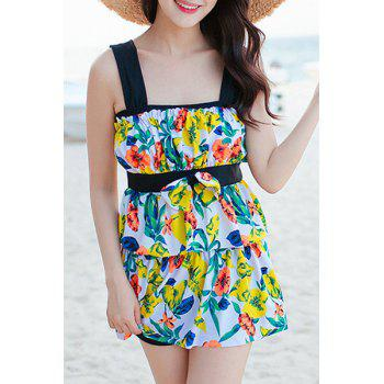 Refreshing Women's Leaves Print Bowknot Two Piece Swimsuit
