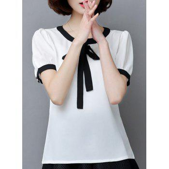 Trendy Bowknot Decorated Jewel Neck Short Sleeve Blouse For Women