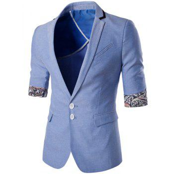 Simple Breasted Lapel Paisley Hemming Trois-quarts Blazer hommes manches