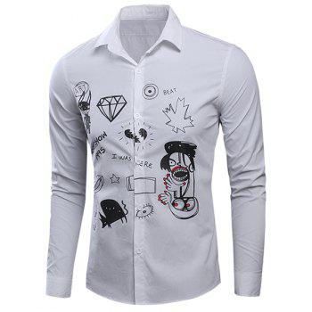 Scrawl Printed Turn-Down Collar Long Sleeve Men's Shirt - WHITE 2XL