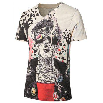 Plus Size V-Neck Cartoon Man Print Short Sleeve Men's T-Shirt