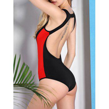 Alluring Color Block Scoop Neck Women's Swimwear