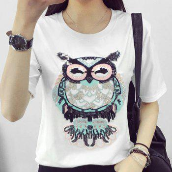 Stylish Women's Night Owl Pattern Short Sleeve T-Shirt