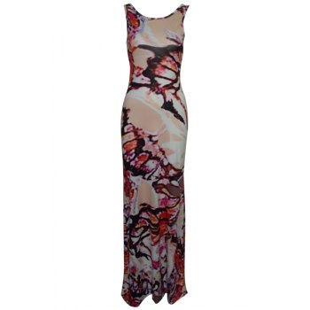Elegant Scoop Neck Sleeveless Printed Criss-Cross Bodycon Women's Maxi Dress
