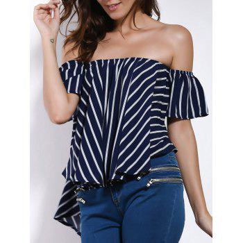 Charming Off-The-Shoulder Short Sleeve Striped High-Low Hem Women's Blouse
