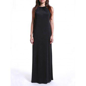 Trendy Women's Strappy Loose-Fitting Black Maxi Dress