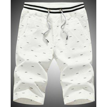Loose Fit Straight Legs Printing Lace Up Shorts For Men