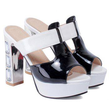 Fashionable Patent Leather and Color Block Design Women's Slippers - BLACK 38