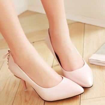 Stylish Metallic and Bowknot Design Women's Pumps - PINK 39