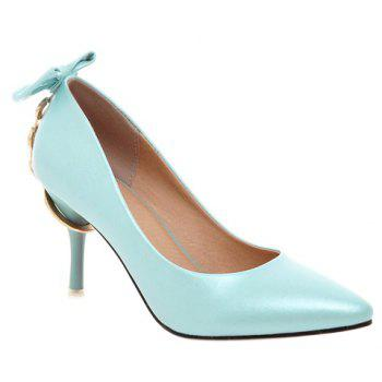 Stylish Metallic and Bowknot Design Women's Pumps