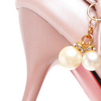 Graceful Bow and Faux Pearls Design Women's Pumps - 38 38