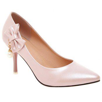 Graceful Bow and Faux Pearls Design Women's Pumps - PINK 38