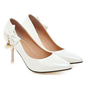 Graceful Bow and Faux Pearls Design Women's Pumps - 37 37