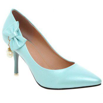 Graceful Bow and Faux Pearls Design Women's Pumps - AZURE 38