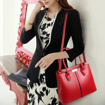 Fashion Solid Color and PU Leather Design Women's Tote Bag - WINE RED