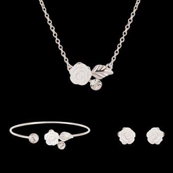 Rhinestone Leaf Flower Shape Jewelry Set (Necklace Bracelet and Earrings)