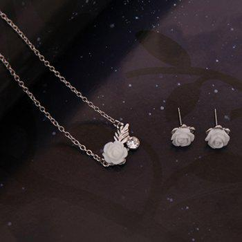 Rhinestone Leaf Flower Shape Jewelry Set (Necklace Bracelet and Earrings) - SILVER
