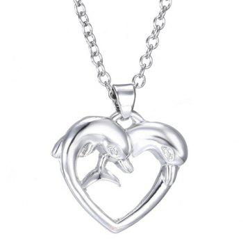 Dolphin Heart Shape Pendant Necklace