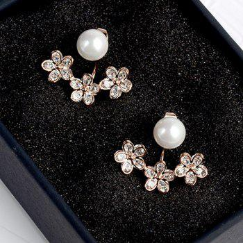 Pair of Floral Faux Pearl Cartilage Earrings
