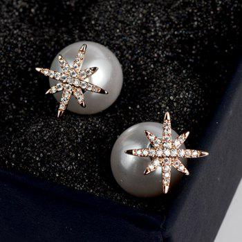 Pair of Snowflake Faux Pearl Earrings