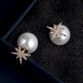 Pair of Snowflake Faux Pearl Earrings - ROSE GOLD