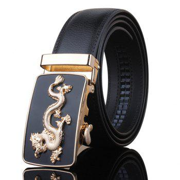 Stylish Golden Dragon Shape Embellished Automatic Buckle Men's Black Wide Belt