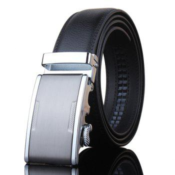 Stylish Metal Automatic Buckle Men's Black Wide Belt