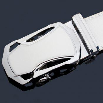 Stylish Hollow Out Sports Car Shape Metal Buckle Men's Wide Belt - WHITE