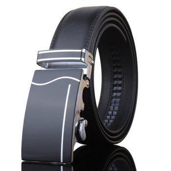 Stylish Wavy and Vertical Stripe Shape Inlay Buckle Men's Black Wide Belt