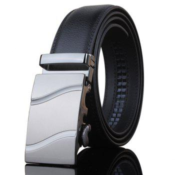 Stylish Wavy Stripe Shape Embellished Metal Buckle Men's Black Wide Belt