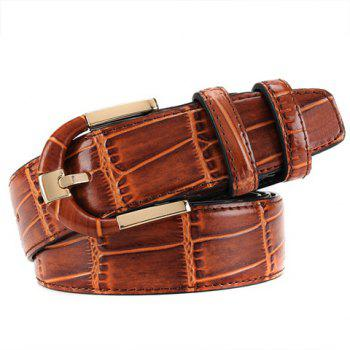 Buy Stylish Pin Buckle Solid Color Block Textured Surface Men's Wide Belt COFFEE