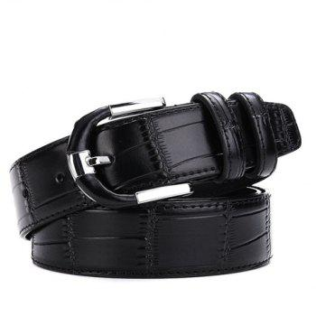 Buy Stylish Pin Buckle Solid Color Block Textured Surface Men's Wide Belt BLACK