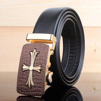 Stylish Cross Shape Inlay Metal Buckle Textured Surface Men's Wide Belt