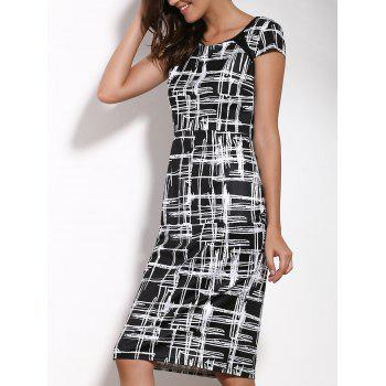 Elegant Round Neck Short Sleeve Printed Bodycon Women's Dress