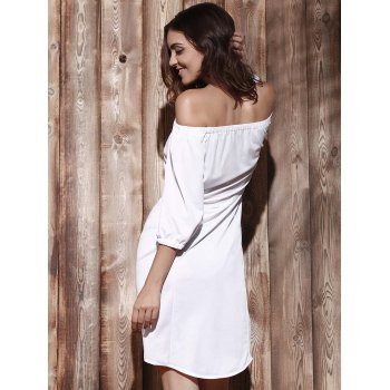 Off The Shoulder Asymmetric Mini Dress - WHITE XL
