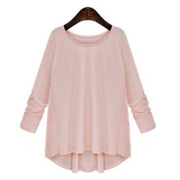 Trendy Women's Scoop Neck Bowknot Embellished Long Sleeves T-Shirt