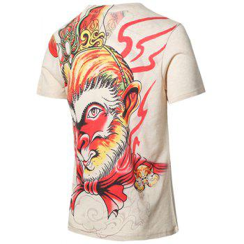 Trendy The Monkey King Printed V-Neck Plus Size T-Shirt For Men - COLORMIX L
