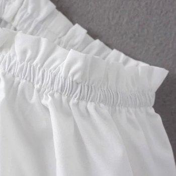 Stylish Women's Off The Shoulder Short Sleeve Solid Color Blouse - WHITE M