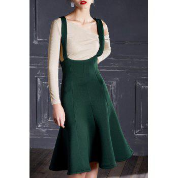 Novelty Solid Color Cross-Back High Waist Women's Suspender Skirt