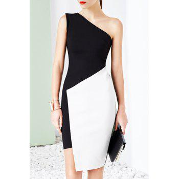 Novelty One-Shoulder Sleeveless Asymmetrical Color Block Bodycon Women's Dress