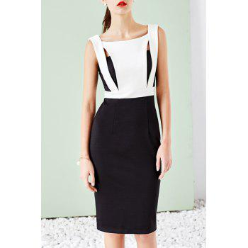 OL Style Square Neck Sleeveless Hollow Out Color Block Women's Pencil Dress
