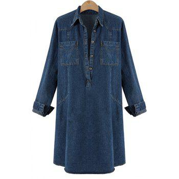 Stylish Women's Turn-Down Collar Buttoned Denim Dress