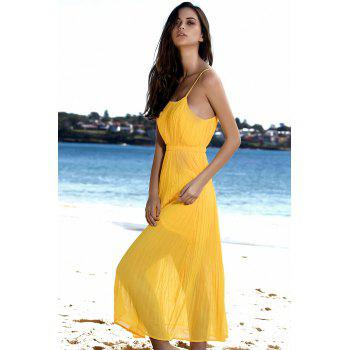 Spaghetti Strap Pleated Beach Maxi Dress