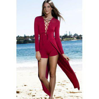 Lucky Lace-Up Long Sleeve Layered Romper