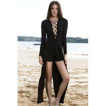 Lucky Lace-Up Long Sleeve Layered Romper - BLACK M
