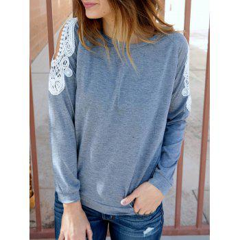 Chic Scoop Collar Long Sleeve Cut Out Lace Spliced Women's Sweatshirt - GRAY S