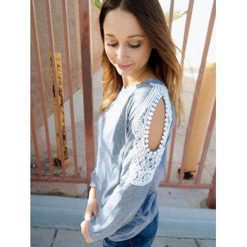 Couper Chic Scoop Collar manches longues Sweat Out Lace Spliced femmes - Gris L