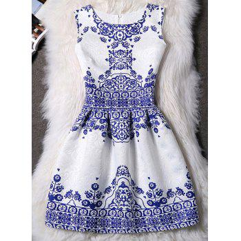 Elegant Sleeveless Round Neck Printed Jacquard Women's Dress