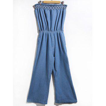 Trendy Strapless Denim Jumpsuit For Women