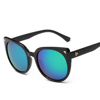 Chic Small Triangle Embellished Women's Black Cat Eye Sunglasses - GREEN GREEN